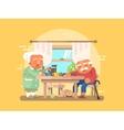 Grandparents breakfast flat vector image