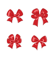 Red shiny gift bows collection vector image