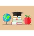 Graduate hat globe books apple education vector image