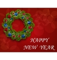 Christmas wreath on a postcard Green branch of vector image