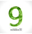 Grunge Number 9 vector image vector image