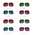 sunglasses colored wiyh eyes set vector image