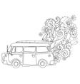 Hand drawn doodle outline surf bus volkswagen vector image