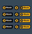bitcoins cryptocurrency buttons or labels set vector image