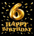 brilliant font number 6 made of realistic 3d gold vector image
