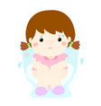 cute girl sitting toilet seat with diarrhea vector image