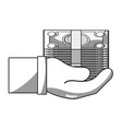 line bill cash money in the hand vector image