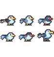 set of pixel birds vector image