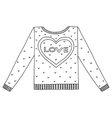 cute cozy sweater with hearts and love vector image vector image