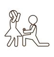 pictogram marriage proposal happy bride vector image