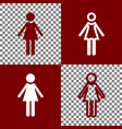 woman sign   bordo and white vector image