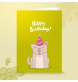 Happy Birthday postcard template with a dog vector image