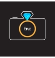 Photo camera with gold wedding ring lens Diamond vector image vector image
