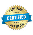 certified 3d gold badge with blue ribbon vector image