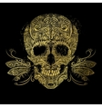 Golden skull Floral gold pattern vector image