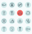 set of 16 restaurant icons includes board fork vector image