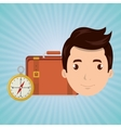 man bag compass travel vector image