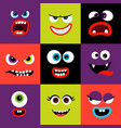Colorful monster faces set vector image