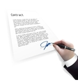 businessman signing contract vector image