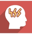 Brainstorming Head Flat Long Shadow Square Icon vector image