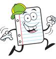 Cartoon Notebook Paper Running vector image