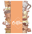 coffee hand drawn design with coffee beans vector image