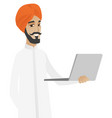 hindu businessman using laptop vector image