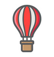 hot air balloon filled outline icon transport vector image