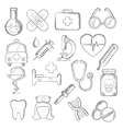 Medical and healthcare icons sketches vector image