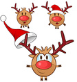 reindeer cartoon set vector image