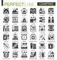 summer camping classic black mini concept symbols vector image