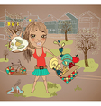 Summer picnic cartoon with funny girl vector image