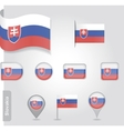 The Slovakia flag - set of icons and flags vector image