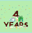 four years anniversary celebration card vector image