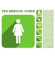 Woman WC Icon and Medical Longshadow Icon Set vector image