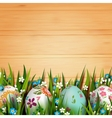 Template card with Easter eggs and flowers vector image