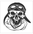 Hell pilot - skull with helmet and glasses vector image