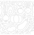 lineart flat style vegetables seamless vector image