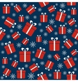 Christmas seamless pattern with gifts snowflakes vector image