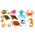 different kinds of sea animals vector image