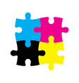 four jigsaw puzzle pieces in cmyk colors printer vector image