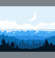 foggy forest at the foot of mountains - rocks vector image