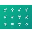 Gender symbol icons on green background vector image