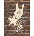 rock sign brick wall vector image