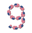 Number 9 made of USA flags in form of candies vector image vector image