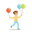 Boy WIth Balloons Children In Costume Party vector image