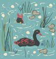 duck bird seamless pattern ducks on the lake vector image