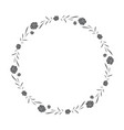 hand drawn floral wreath round frame with leaves vector image