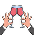 hands holding wine glass make a toast vector image