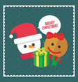merry christmas snowman and ginger cookies gift vector image